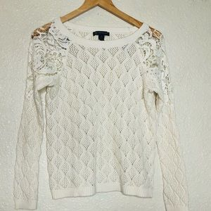 {INC} knit crew fitted crochet shirt top M